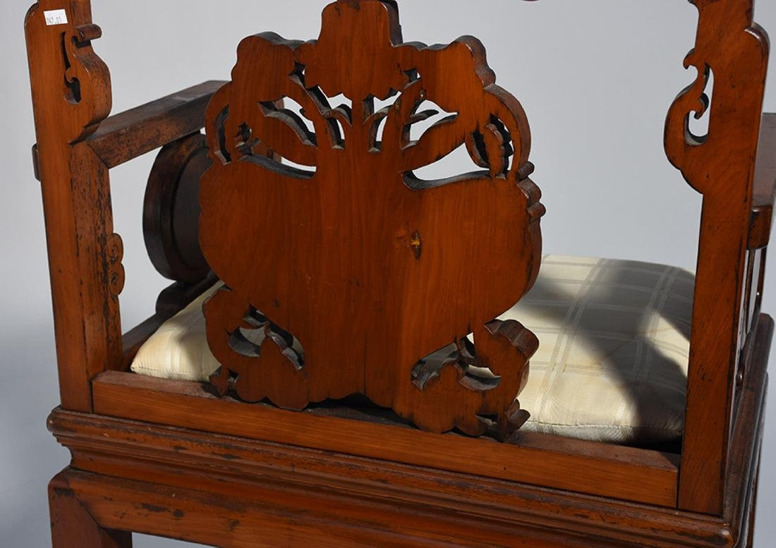 Pair Chinese carved armchairs - 7