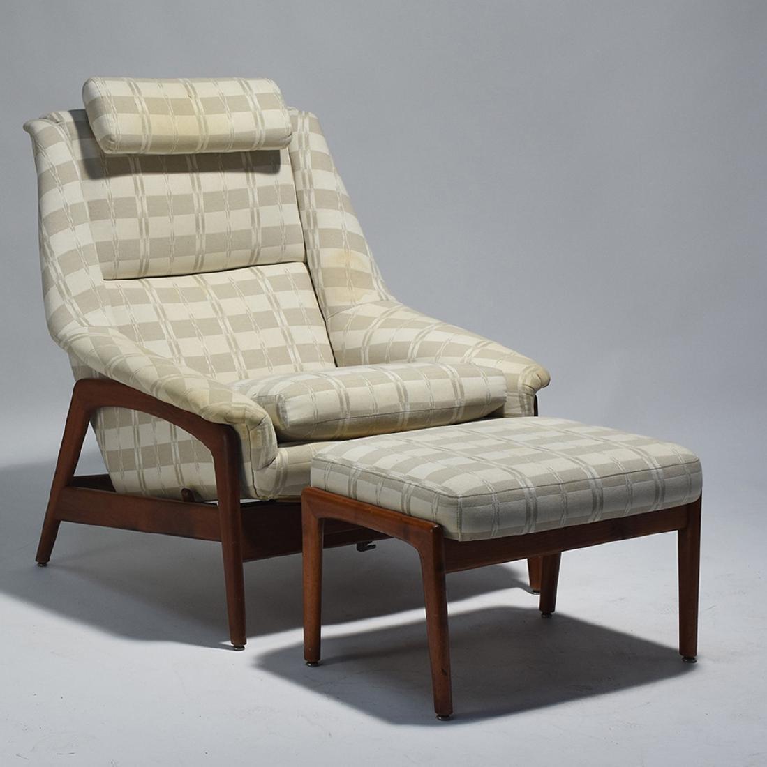 Dux Mid-Century teak reclining chair and ottoman