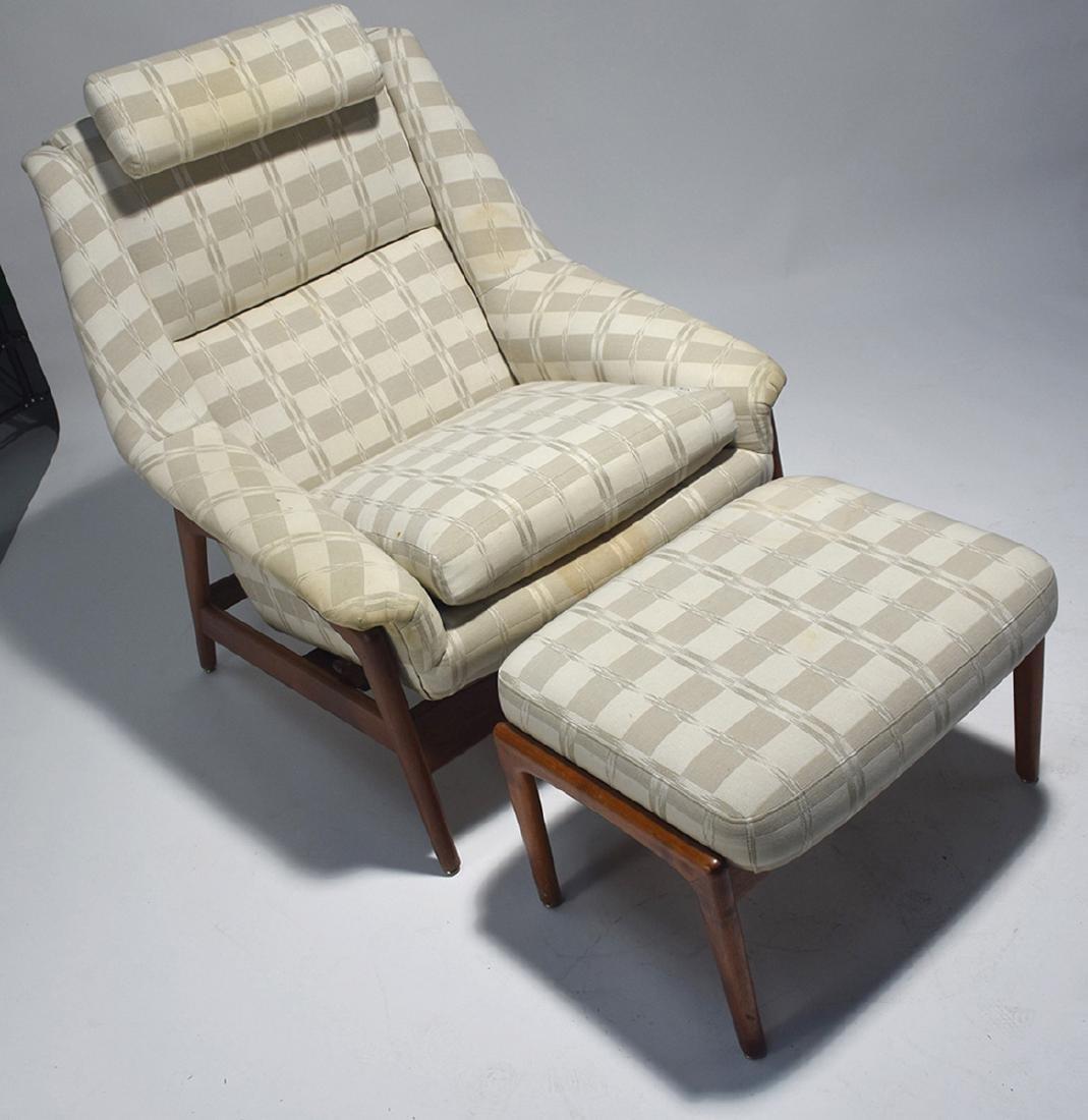 Dux Mid-Century teak reclining chair and ottoman - 7