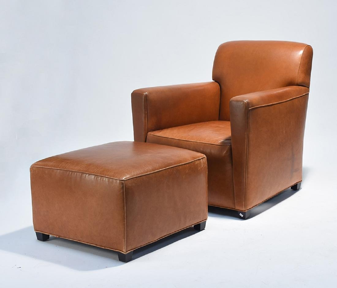 Leather club chair with matching ottoman