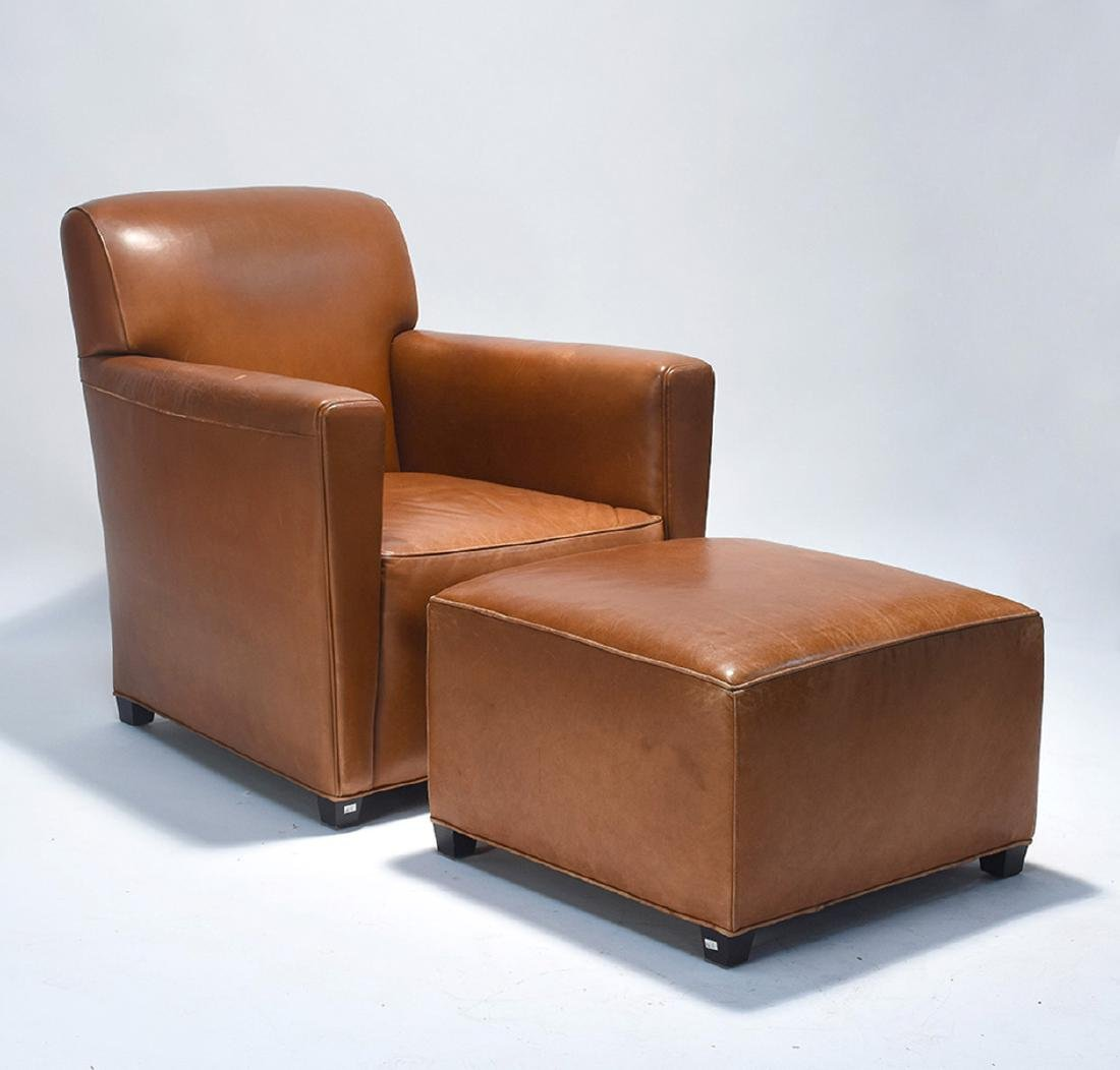 Leather club chair with matching ottoman - 3