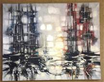 Max Gunther oil on canvas abstract city scape