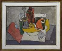 Mid Century oil on canvas, abstract still life