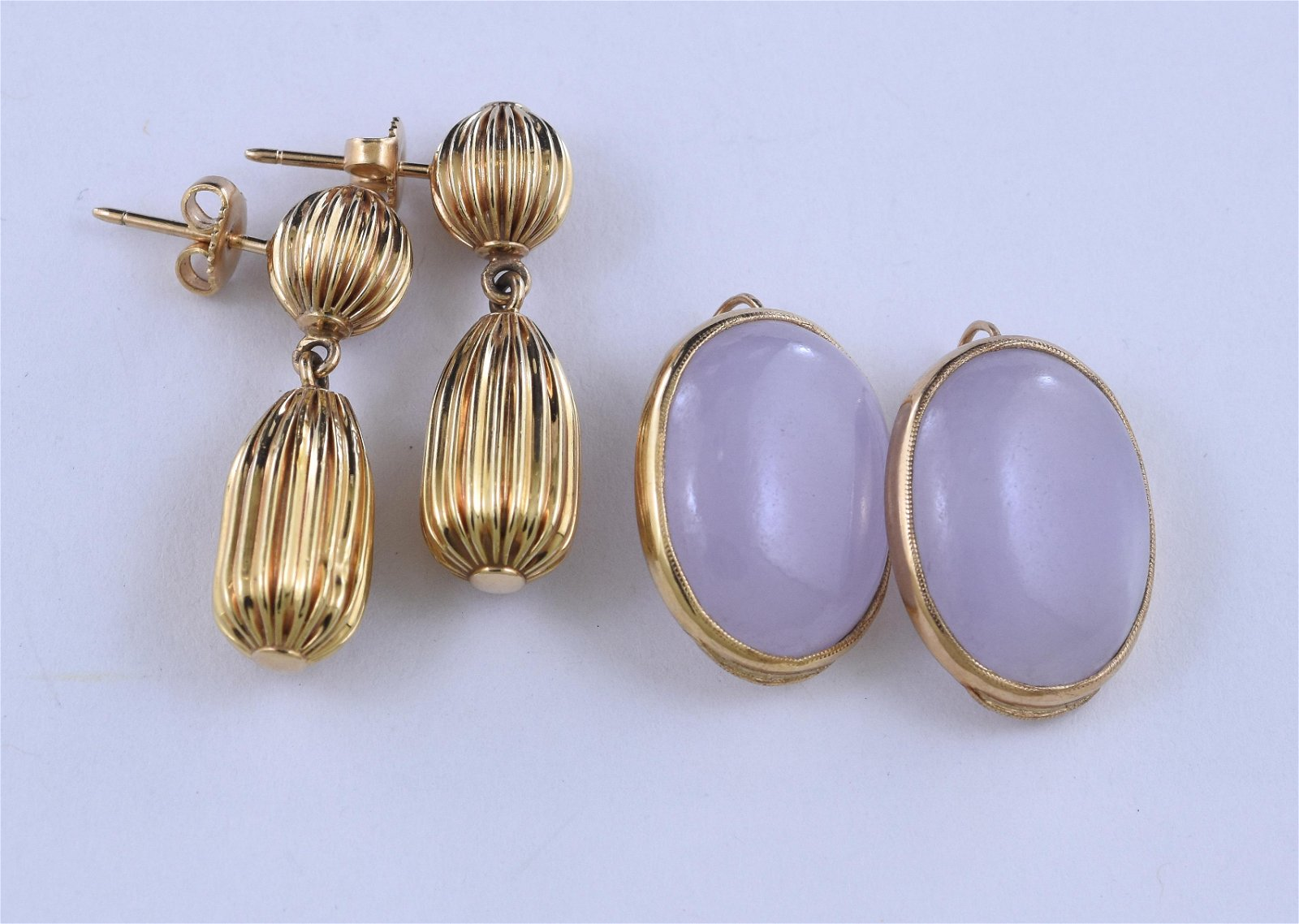 14K gold and lavender jade earrings with other pair