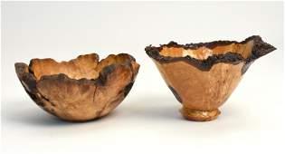 Two Dustin Coates free form edge burl bowls