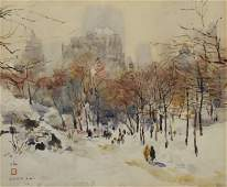 Watercolor NYC Central Park in Winter signed Chen Chi