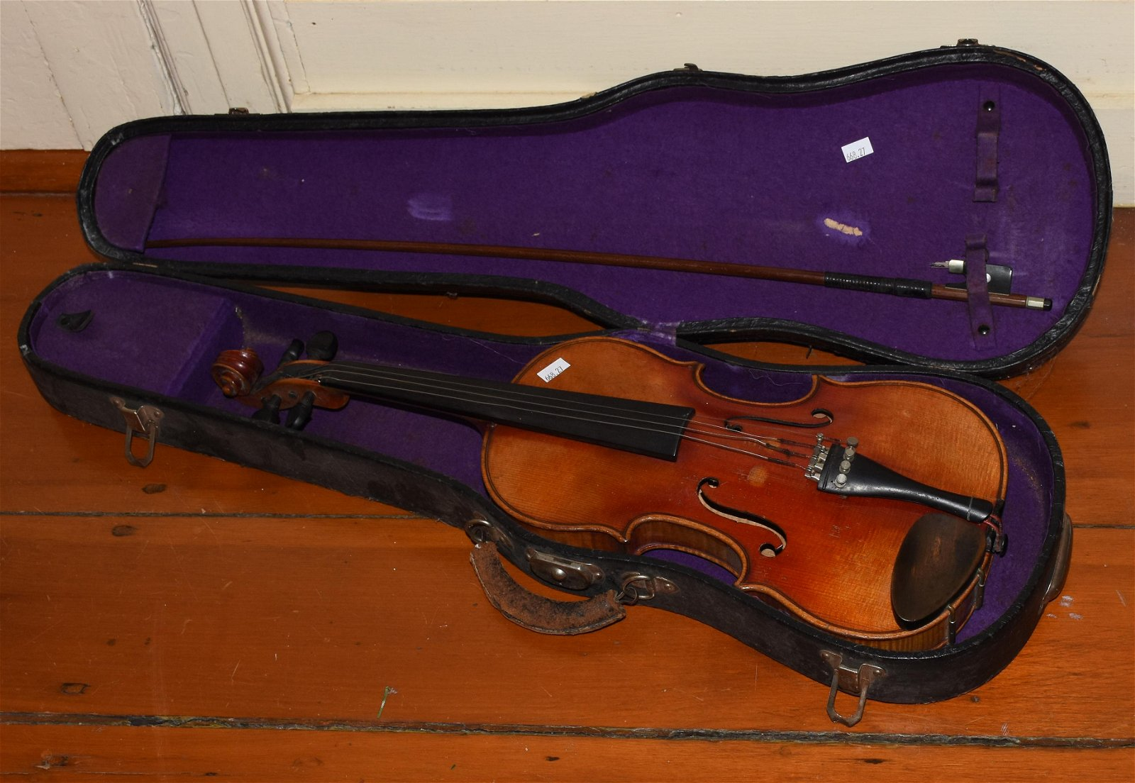Tiger maple violin with bow and case