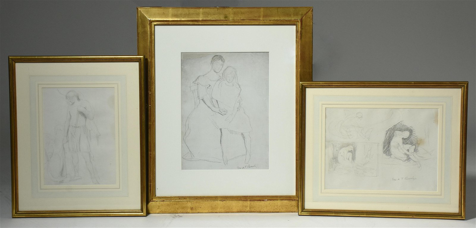 Three graphite sketches by George De Forest Brush