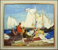 Ross Moffett Oil on Canvas, Harbor Scene