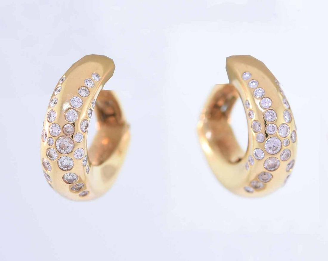 Chaumet 18K Diamond huggie earrings
