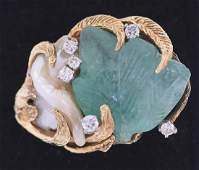 14K Carved Emerald ring