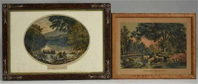 Two Currier & Ives colored lithographs
