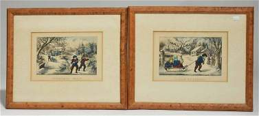Two Currier  Ives lithographs