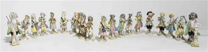 19th C GermanFrench Porcelain Dog Orchestra