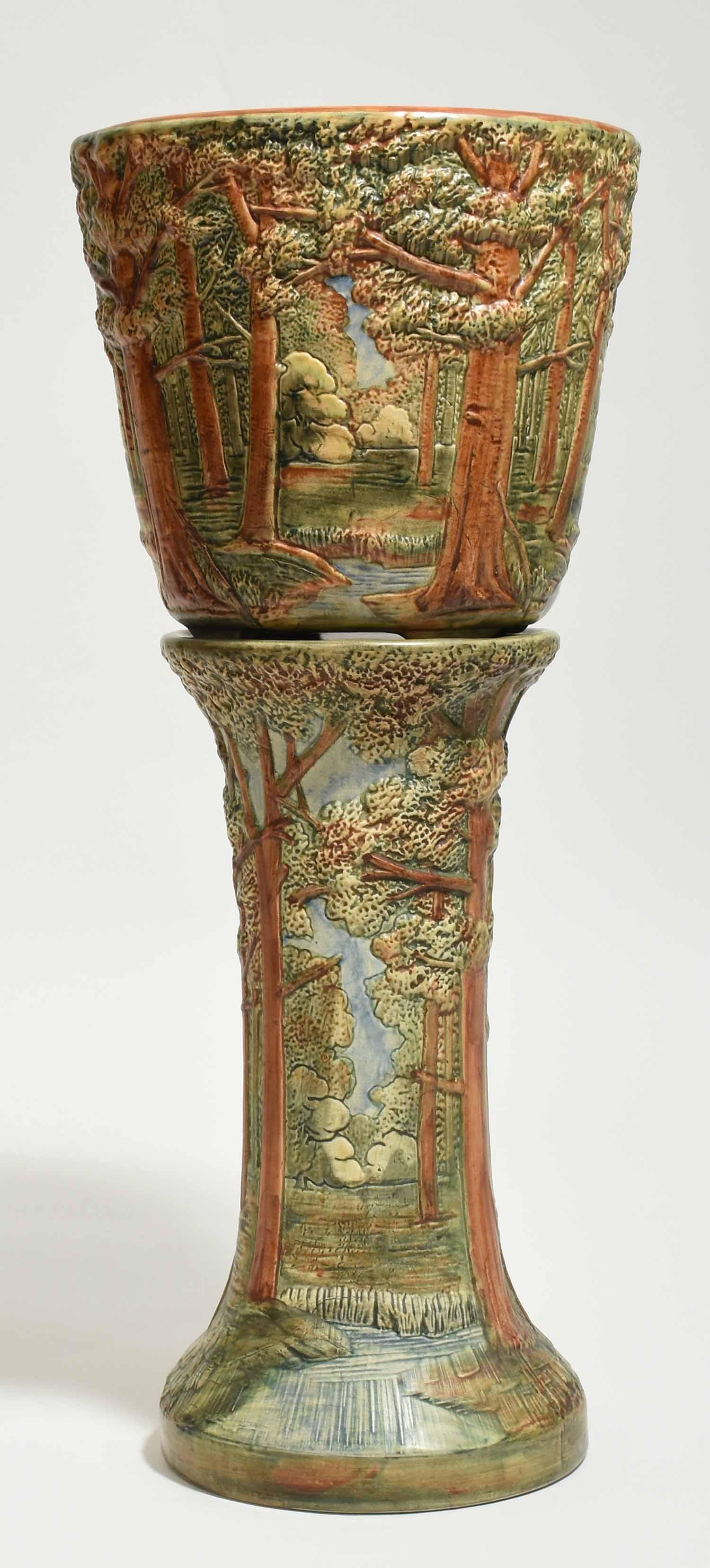 Large Weller Pottery Jardiniere, Forest Pattern
