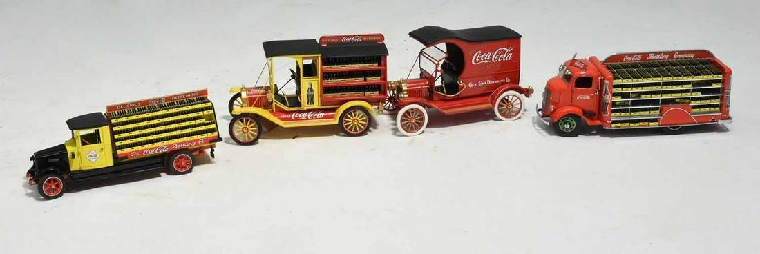 Four Danbury and Franklin Mint Coca Cola Trucks