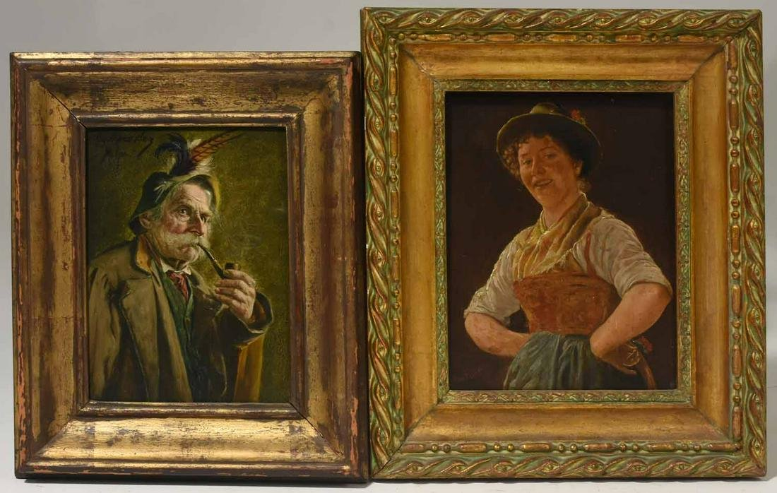 Two 19th C. German Oil Portraits