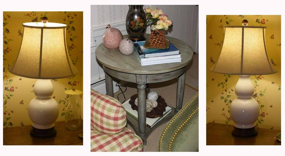 Lamp Table with Pair of Lamps