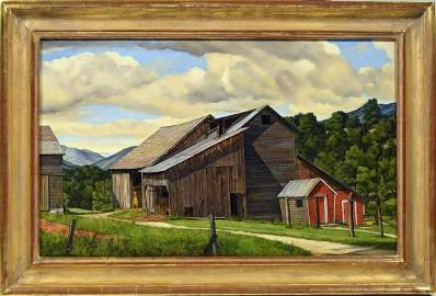 Luigi Lucioni Oil, The Weathered Barn