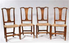 Four Country Chippendale Side Chairs