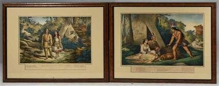 Two Currier  Ives Prints Hiawatha