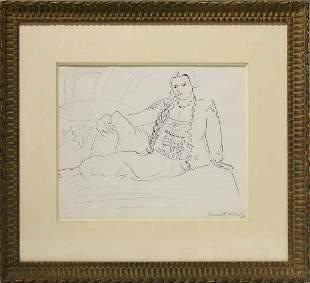 Authenticated Henri Matisse Sketch, Odalisque