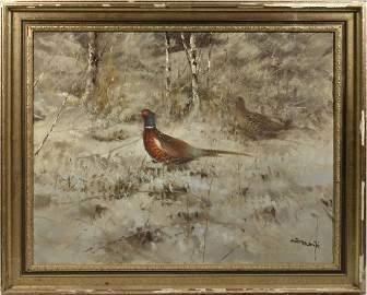Oil, Pheasants in winter landscape, Pieter Dik