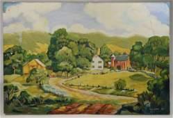 Oil on canvas, farm scene, signed E.C. Laug '43