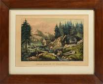 Litho Gold mining in California Currier and Ives