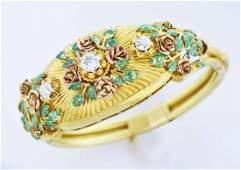 Antique gold, diamond & enamel bracelet