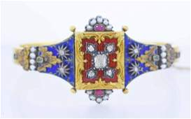 Victorian gold, diamond, ruby, emerald, pearl & enamel