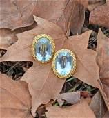 18k gold 20 ct. aquamarine earrings