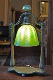 Tiffany Studios bronze desk lamp, #4873