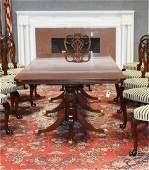 Triple pedestal mahogany dining table
