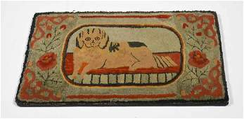 19th C. American hooked rug dog