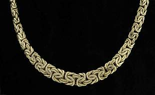14kt yellow gold flattened tapered byzantine design