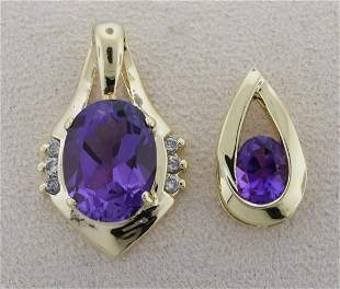 Two 14kt yellow gold amethyst pendants
