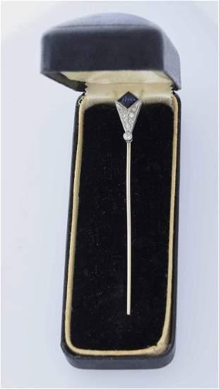 Art Deco sapphire and diamond stick pin
