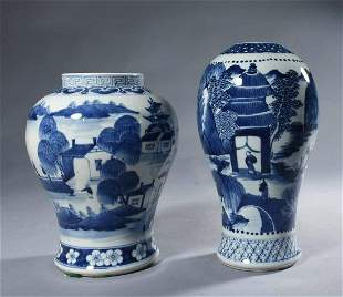 Two 19th C. Chinese Blue And White Porcelain Vases