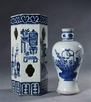 Early Chinese B & W Porcelain Vessel And Hat Stand