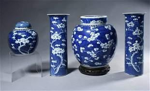 Antique Chinese Porcelain W/ B & W Prunus Decoration