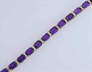 An exceptional La Triumph 18k dia. & amethyst bracelet