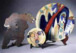 2 Vermont studio pottery pieces w/ a 3 headed bear