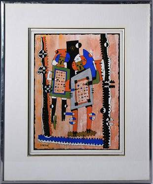H. Mortazavi (French, contemporary). Acrylic on paper