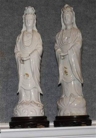 Two large size Chinese blanc de chine porcelain figures