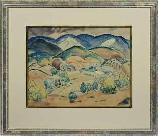 ALICE SCHILLE, CA. 1920-40, W/C, SANGRE DE CRISTO MT.