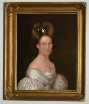 19TH C. AMERICAN PORTRAIT, MRS. ELIZABETH PARSON