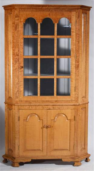 BENCH-MADE TIGER MAPLE TWO-PART CORNER CUPBOARD