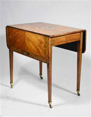 PAINT DECORATED 19TH C. SATINWOOD PEMBROKE TABLE