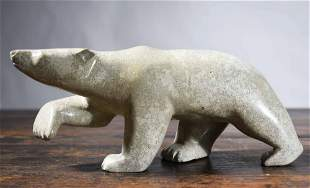 INUIT CARVED SOAPSTONE POLAR BEAR